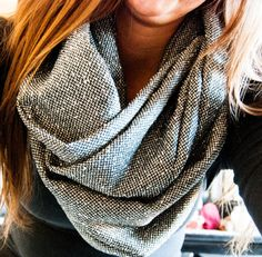 Speckled Gray Chunky Infinity Scarf by DesiringJoy on Etsy