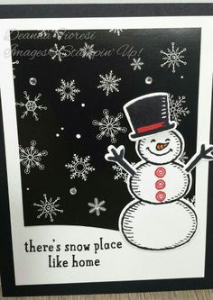 Stampin' Up! Snow Place stamp set with Winter Wonderland DSP. Holiday 2015. CardsbyDeanna.etsy.com