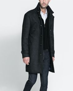 COAT WITH KNIT DETAILING- ZARA