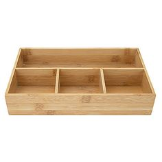 This compact drawer organizer features four convenient storage sections. The front three sections each measure four inches wide and are perfect for storing coffee condiments including sugar packets  creamers  and tea bags. Small food condiments including salt and pepper  ketchup  and mustard packets may also be stored here. The long  slender section at back is perfect for holding utensils  straws  and stirrers. Made from 100% bamboo  this bamboo organizer is durable and water-resistant. Bathroom Organisation, Office Organization, Makeup Organization, Small Bottles, Drawer Organisers, Desk With Drawers, Break Room, Office Accessories, Rubber Bands