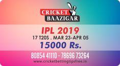 Cricket Baazigar Provide 100% Expert Cricket Match Prediction and Indian Premier League – IPL 2019 betting tips free  #TodayMatchPrediction #CricketBettingTips #dream11 #ballebaazi #fantasycricket #baazigar