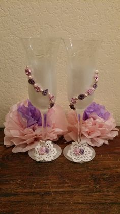 Vintage Chic Wedding Toasting Glasses: Made with handmade roses, swarovski pearls, doily and hand painted with pearl paint.