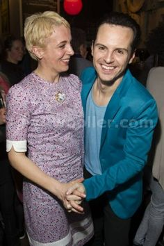 Amanda Abbington and Andrew Scott (Paul) attend the after party on press night for Birdland at the Royal Court Theatre, London, England on 9th April 2014. Photograph by Dan Wooller