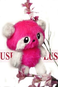 Fluse: cuddly panda from high quality cuddly plush, faux fur in pink and white (eyes felt)! Single piece! Unique! Manufactured after own! Machine and