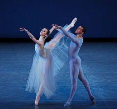 "Boston Ballet's Addie Tapp and New York City Ballet's Preston Chamblee in Balanchine's ""Serenade"" during the 2014 The School of American Ballet workshop performance. (Photo by Paul Kolnik)"