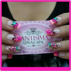 Uñas decoradas #AndryRegiino Funky Nail Art, Funky Nails, Cute Nails, Pretty Nails, My Nails, Pretty Nail Designs, Diy Nail Designs, Nail Design Video, French Tip Nails