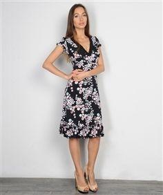 Black Midi Dress with Pink & White Floral! - 5dollarfashions.com