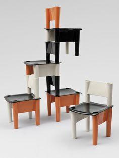 Chica modular plastic children's chairs of 1971, by Jonathan De Pas, Donato D'Urbino, Giorgio DeCurso, and Paolo Lomazzi for BBB Bonacnia.