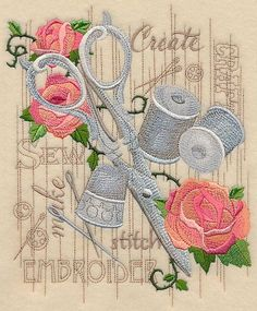 Machine Embroidery Projects Machine Embroidery Designs at Embroidery Library! - New This Week Machine Embroidery Projects, Embroidery Transfers, Learn Embroidery, Vintage Embroidery, Embroidery Applique, Embroidery Stitches, Embroidery Jewelry, Vintage Sewing, Embroidered Quilts