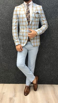 Indian men fashion - Marc Coffee Blue Suit with Brown Vest Indian Men Fashion, Mens Fashion Wear, Blazer Fashion, Suit Fashion, Blazer Outfits Men, Stylish Mens Outfits, Terno Slim Fit, Mode Costume, Designer Suits For Men