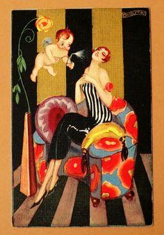 Vintage Art Deco Postcard Signed Chiostri | eBay
