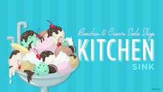 This Memorial Day, we're sharing a special treat – the original recipe for our popular Kitchen Sink sundae and how to make it at home with a patriotic spin! The Kitchen Sink sundae from Beaches & Cream Soda Disney Diy, Disney Food, Disney Recipes, Walt Disney, Disney Ideas, Chocolate Chip Ice Cream, Chocolate Shavings, Kitchen Tops, Kitchen Sink