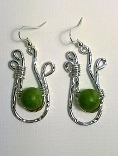"""Green Balls of Fire"" Textured silver earrings - TRJ"