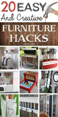 20 Easy & Creative Furniture Hacks (With Pictures) 2019 An AWESOME list of easy DIY furniture hacks! This makes me want to go thrift shopping. The post 20 Easy & Creative Furniture Hacks (With Pictures) 2019 appeared first on Furniture ideas. Diy Furniture Hacks, Unusual Furniture, Repurposed Furniture, Furniture Projects, Furniture Makeover, Furniture Stores, Furniture Design, Vintage Furniture, Upcycled Furniture Before And After