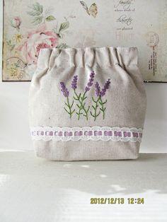 Hand embroidery flex frame purse pouch bag - lavender blue daisy flower garden embroidery. $58.52, via Etsy.