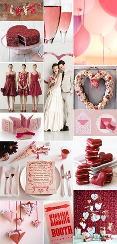 Valentine's Day themed wedding inspiration - pink champagne, red velvet heart shaped wedding cake, and cute short bridesmaids dresses