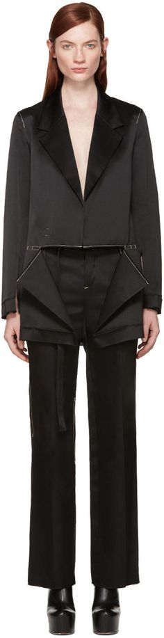 Image of Calvin Klein Collection Black Satin Topstitched Gillin Jacket
