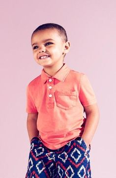 Cute for the weekend | Tucker + Tate polo and ikat-inspired print shorts.