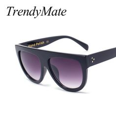 Fashion Sunglasses Women Brand Design Gradient Sun Glasses Female Rivet  Shades Flat Oversize Shades Sunglass UV400 M100 b580cf849c