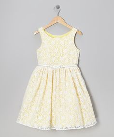 Take a look at this Marmellata Yellow & White Lace Dress - Girls on zulily today!
