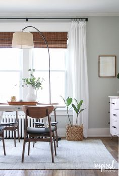 Dining Room / Office - Floor Arc Lamp as overhead light - Summer Home Tour 2016 via Inspired by Charm