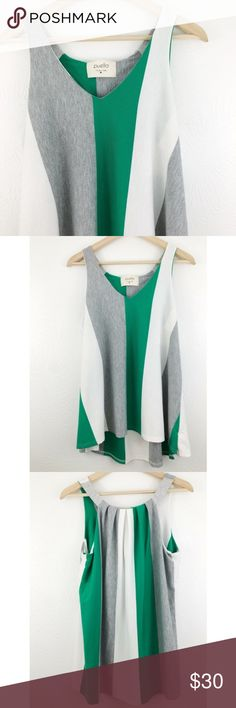 """Anthro   Puella Colorblock Hi-Low Tank Blouse Anthro   Puella. Green, grey, and white hi-low tank. 1"""" thick straps with front and back draping. Complimentary and loose-fitting. 61% polyester, 33% rayon, 6% spandex. Approximately 39"""" bust, 28""""/29.5"""" long.  Great condition  (B12) Anthropologie Tops Tank Tops"""
