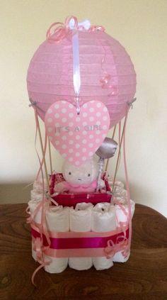 Diaper hot air ballon cake baby girl