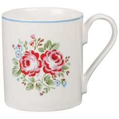 Cath Kidston Chelsea Bunch Larch Mug (22 BRL) ❤ liked on Polyvore featuring home, kitchen & dining, drinkware, mugs, floral mugs, london mug, painted mugs, cath kidston and cath kidston mugs