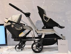 orbit double stroller helix g2 infant and toddler seat. Great stroller with convenient features but slightly cumbersome.