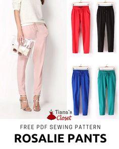 The Little Sewist: Free PDF sewing pattern: Rosalie elastic waist cro. Pdf Sewing Patterns, Free Sewing, Clothing Patterns, Dress Patterns, Vogue Patterns, Vintage Patterns, Sewing Pants, Sewing Clothes, Pants Pattern Free