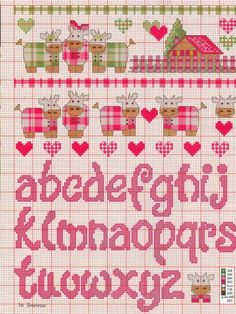 quilting like crazy Cross Stitch Letters, Cross Stitch Baby, Embroidery Fonts, Hand Embroidery Patterns, Cross Stitching, Cross Stitch Embroidery, Plastic Canvas Patterns, Le Point, Stitch Patterns