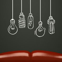 FUNKY LIGHTBULBS wall sticker graphic art decal kids vinyl stencil new bn71