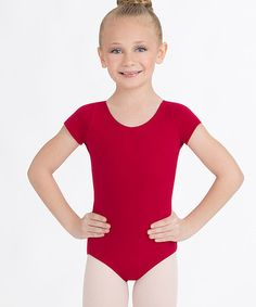 Look at this Garnet Short-Sleeve Leotard - Girls by Capezio Black Leotard, Plus Size Designers, Plus Size Shopping, Kids Shorts, Lycra Spandex, Short Girls, Everyday Look, Leotards, Cap Sleeves