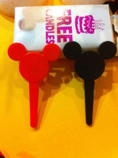 New Disney Black Red Mickey Minnie Mouse Ears Birthday Party Cake Candle Holders | eBay