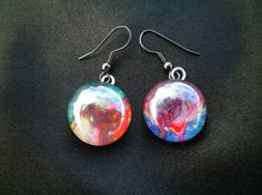 Marbled glass planet earrings, Hand decorated multicoloured glass cabochon earrings, glass nail polish gem earrings, unique gift for her.