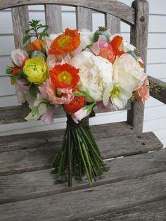 Peony, poppy and sweet pea bouquet