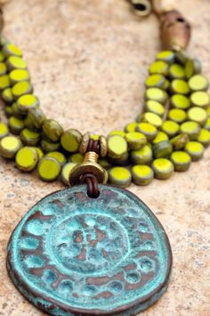 Custom Borneo Necklace: Exotic Green Glass,...Like the color combinations.