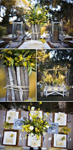 Yellow and Gray and Rustic II - candle lanterns and twigs.