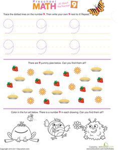 all numbers worksheet | Preschool Math: All About the Number 9 | Worksheet | Education.com