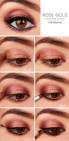 Steps: 1. Create your base by applying a shimmer golden copper eyeshadow to the middle of the lid. 2. Next, sweep a shimmer rose pink eyeshadow just above the copper shadow from the previous step. 3....