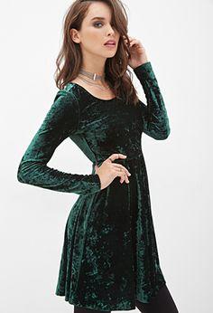 65da10966b Forever 21. Velvet Skater DressSkater Dress Long SleeveEmerald Green ...