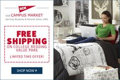 "Business Stuff: ""Enjoy Free Shipping on College Bedding Value Paks..."