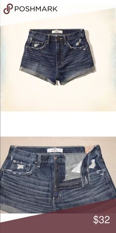 Hollister high rise destroyed shorts Size 7 Hollister Shorts Jean Shorts