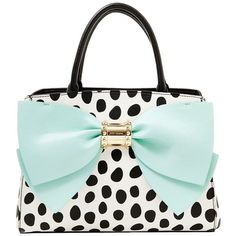 Betsey Johnson Ready Set Bow Satchel ($118) ❤ liked on Polyvore featuring bags, handbags, purses, mint, betsey johnson handbags, bow purse, mint purse, betsey johnson purses and white purse