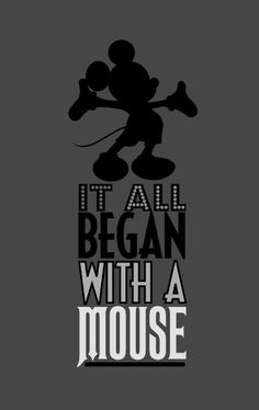 It all began with a mouse. Designed by Robbie Thiessen. #Disney #disneyland #mickeymouse #graphicdesign illustration