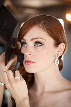 pretty wedding makeup...and she's a redhead!
