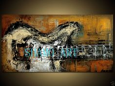 guitar paintings modern art | Hand OIL Paintings OF Abstract ART Modern Guitar Music Framed | eBay