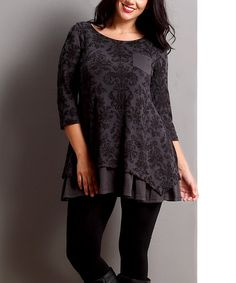Another great find on #zulily! Charcoal Damask Ruffle-Hem Tunic - Plus #zulilyfinds