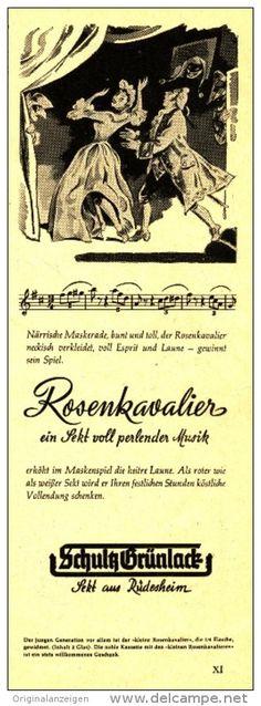 Original-Werbung/ Anzeige 1953 - ROSENKAVALIER / SCHULTZ GRÜNLACK SEKT / RÜDESHEIM -ca. 70 x 200 mm