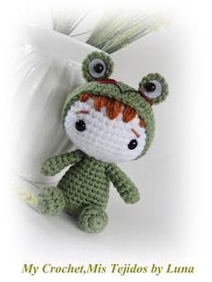 My Crochet , Mis Tejidos by Luna: Kawaii-little boy with a frog custm/Nene difrazado...